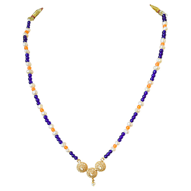Traditional Gold Plated Vati Pendant, Blue and Orange Colored Stone and Freshwater Pearl Necklace for Women (SN592)