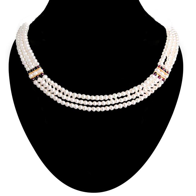 Real Pearl Royal Grace -2 To 3 Line Necklace