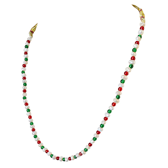 Single Line Red & Green Colored Stone and Freshwater Pearl Necklace for Women (SN601)