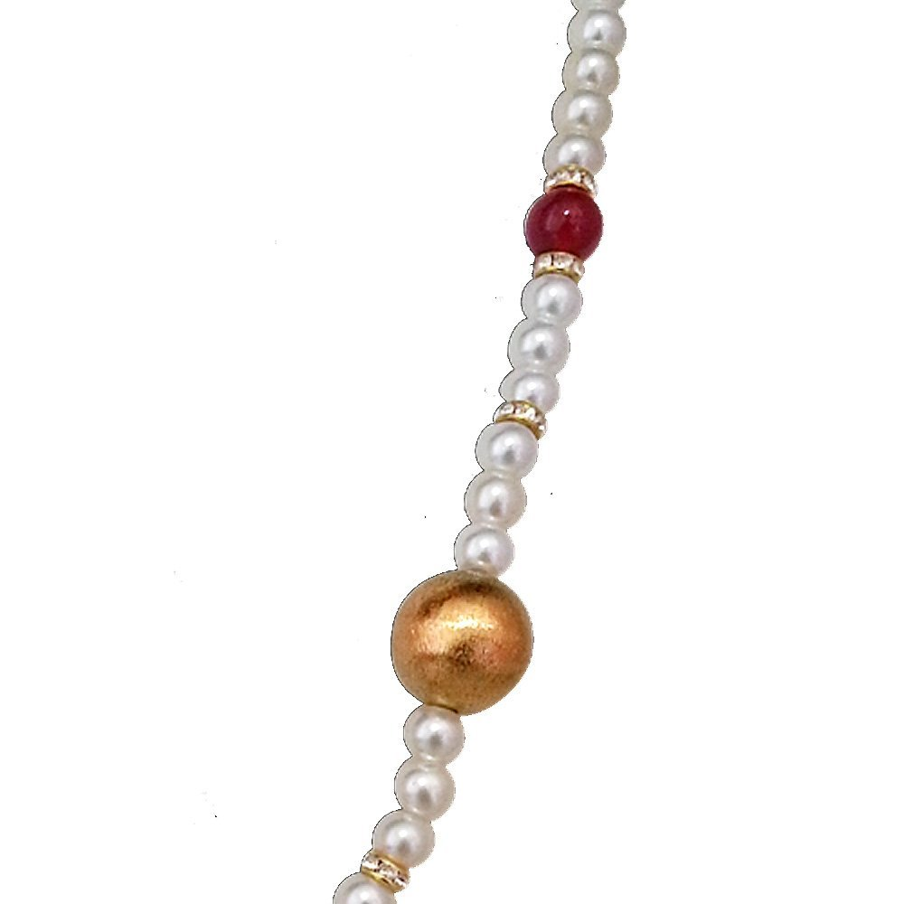 Exotic - Kundan Ball, Shell Pearls & Red Coloured Stone Necklace (SN642)