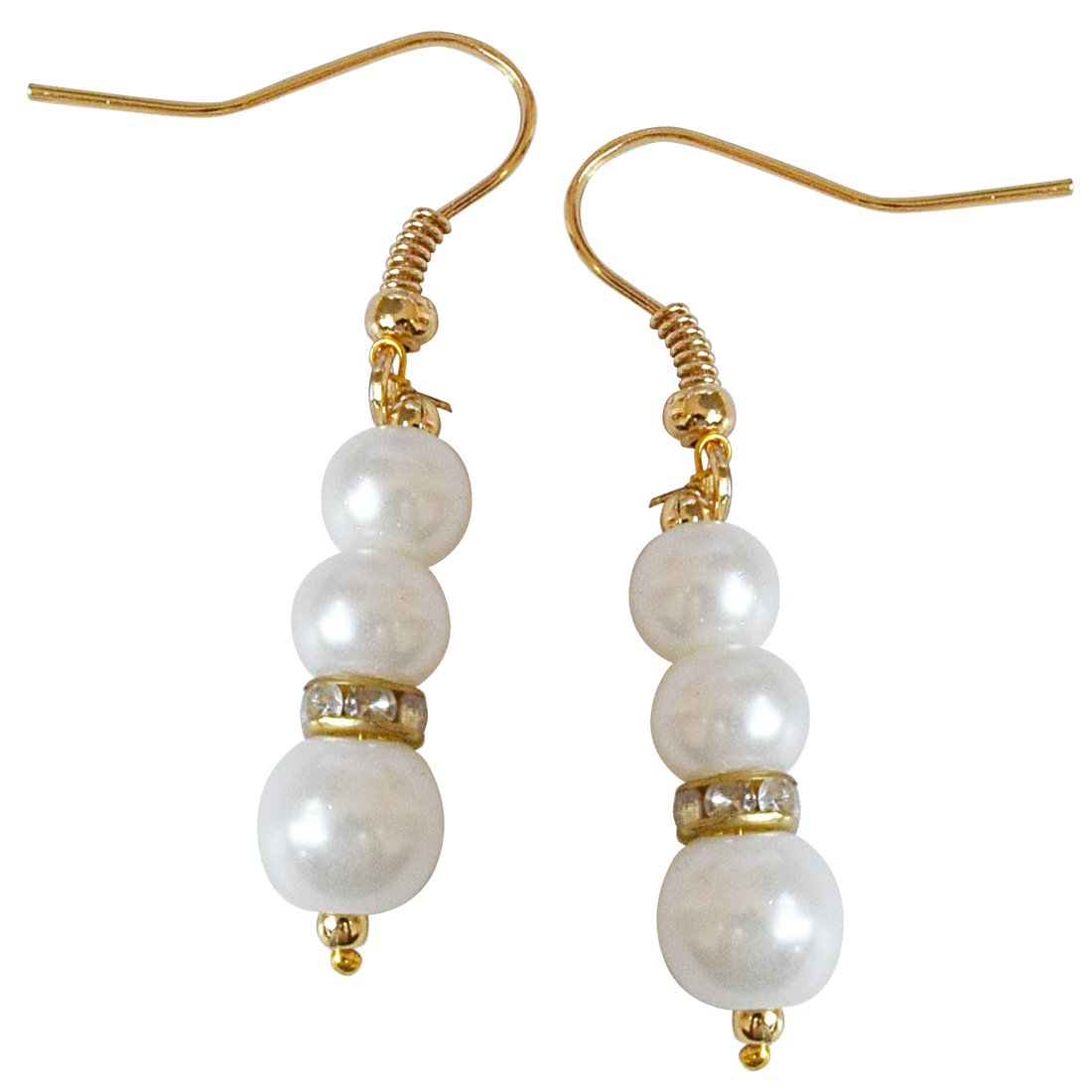 Single Line White Shell Pearl, Colored Stone and Gold Plated Ball Necklace Earring Set for Women (SN647)