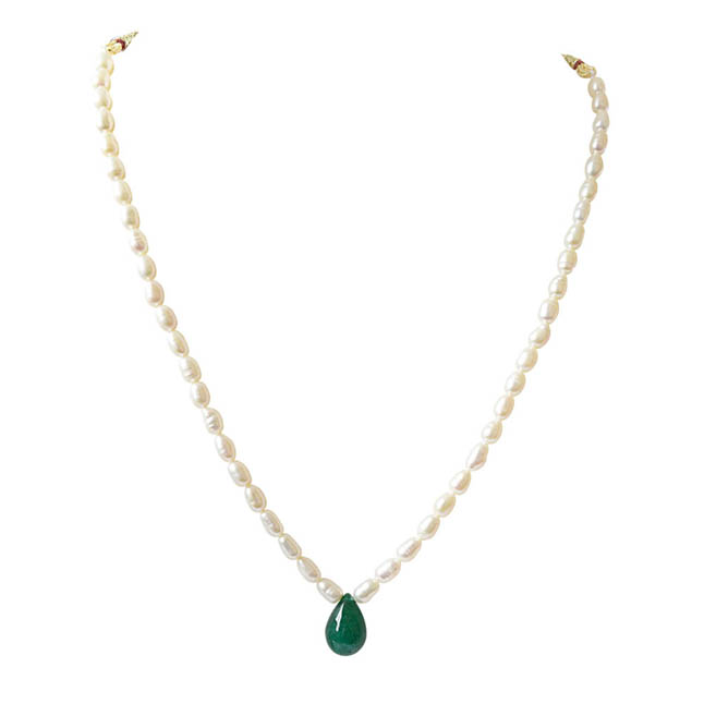 Single Line Real Pearl & Drop Shaped Green Onyx Necklace (SN671)