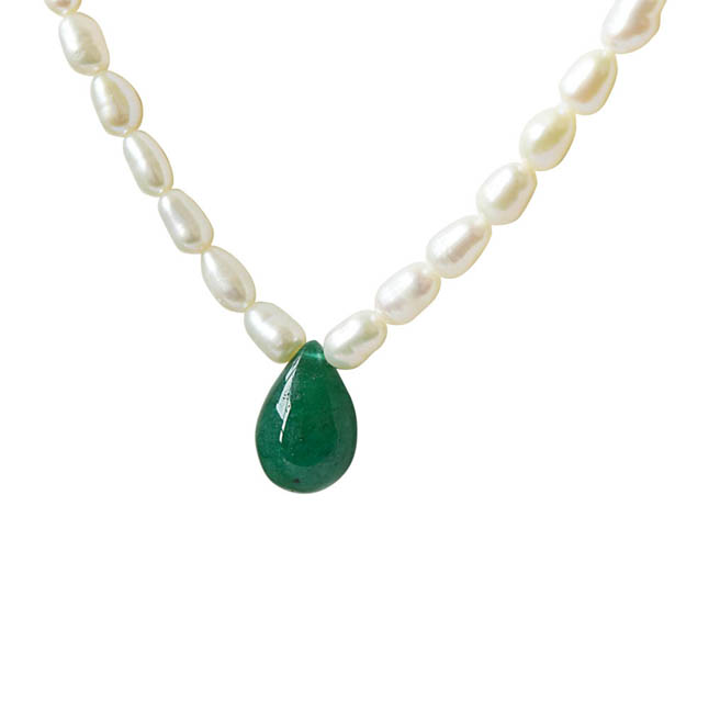 Single Line Real Pearl & Drop Shaped Green Onyx Necklace SN671