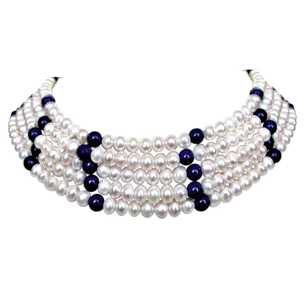 Glint - 5 Line Real Freshwater Pearl & Blue Lapiz Beads Choker Necklace for Women (SN68)