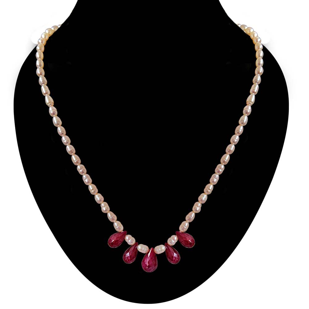 5 Faceted Drop Ruby & Rice Pearl Necklace for Women (SN716)