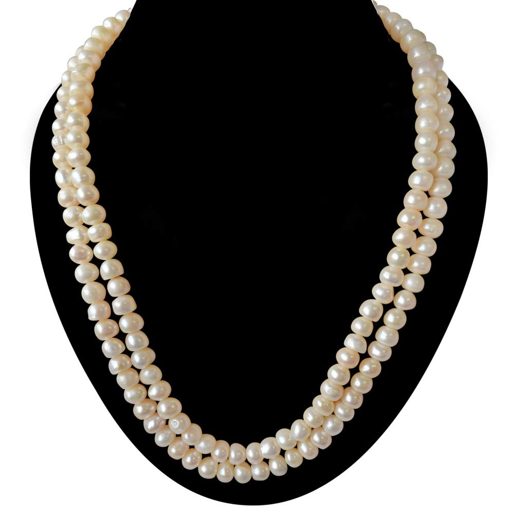 2 Line Real Big Freshwater Pearl Necklace for Women (SN744)