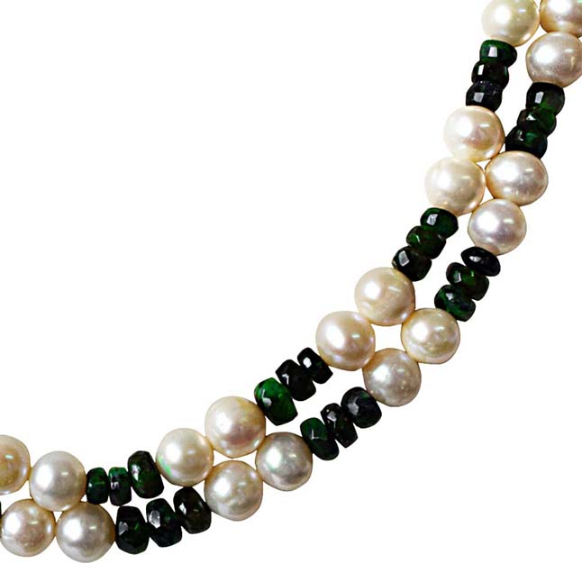 2 Line Real Pearl & Green Faceted Emerald Necklace