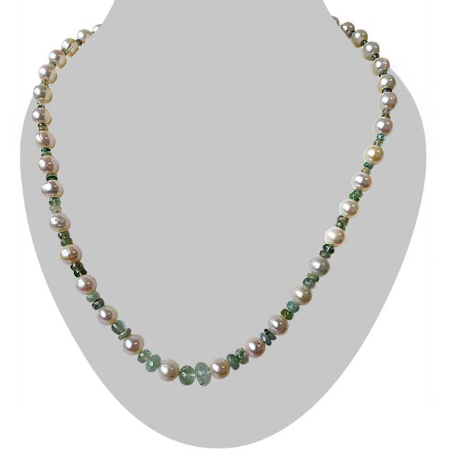 Single Line Real Pearl & Light Green Faceted Emerald Necklace