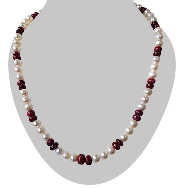 Single Line Real Pearl & Red Ruby Beads Necklace