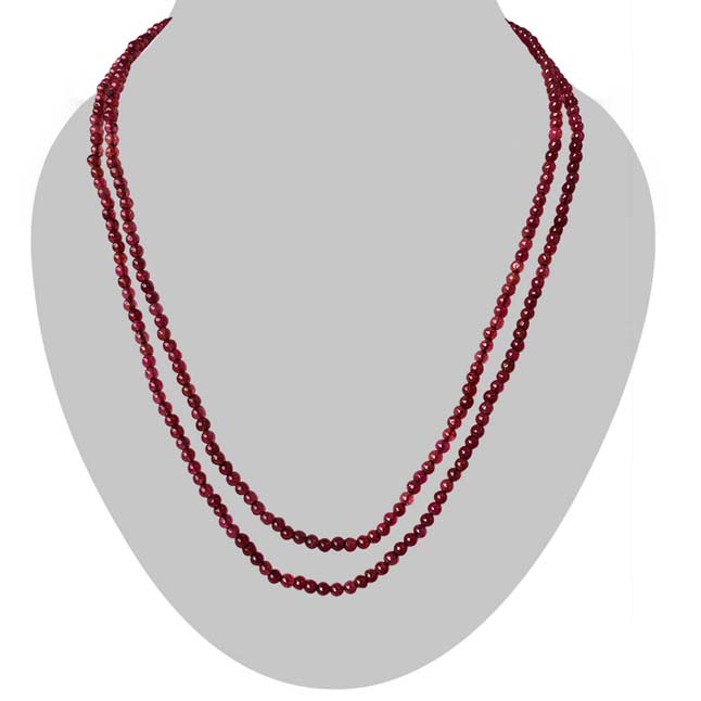 2 Line Real Small Red Ruby Beads Necklace