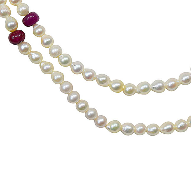 Fine 18 IN Long Real Japanese Cultured Pearl Necklace with Real Ruby for Women, White Silky Smooth Pearls SN770