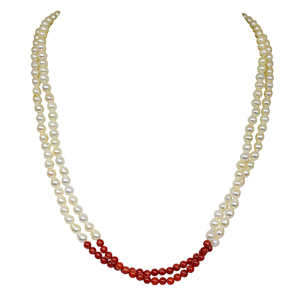 Fine 19/20 IN Long 2 Line Real Japanese Cultured Pearl & Red Coral Necklace for women, White Silky Smooth Pearls SN773