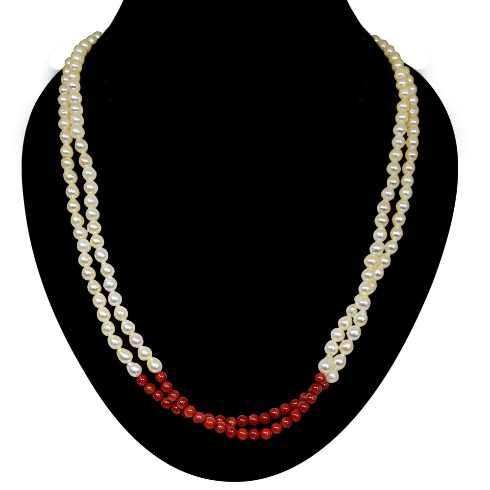 Fine 19/20 IN Long 2 Line Real Japanese Cultured Pearl & Red Coral Necklace for women, White Silky Smooth Pearls (SN773)
