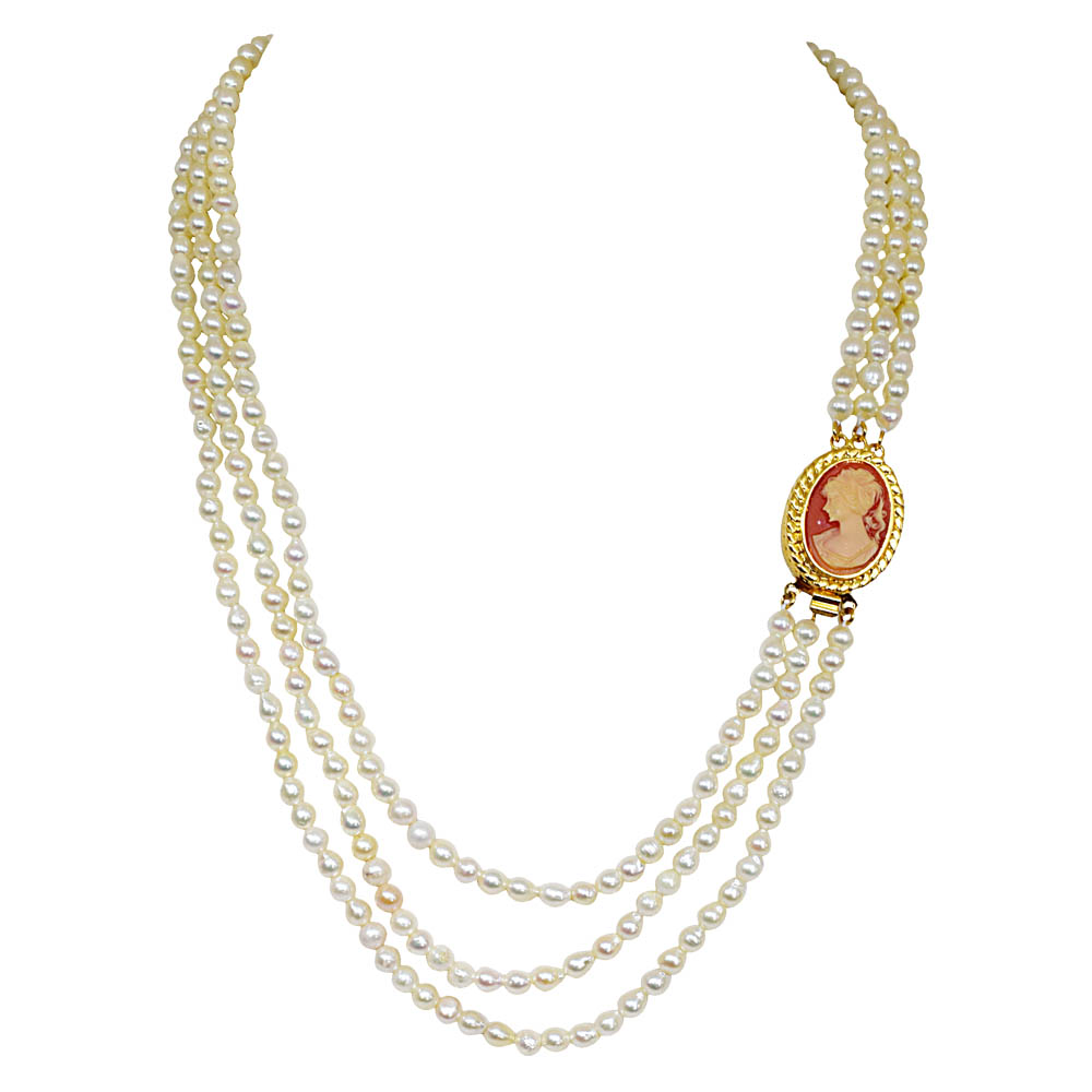 Fine 19/20 IN Long 3 Line Real Japanese Cultured Pearl Necklace with Ruby for Women, White Silky Smooth Pearls SN774