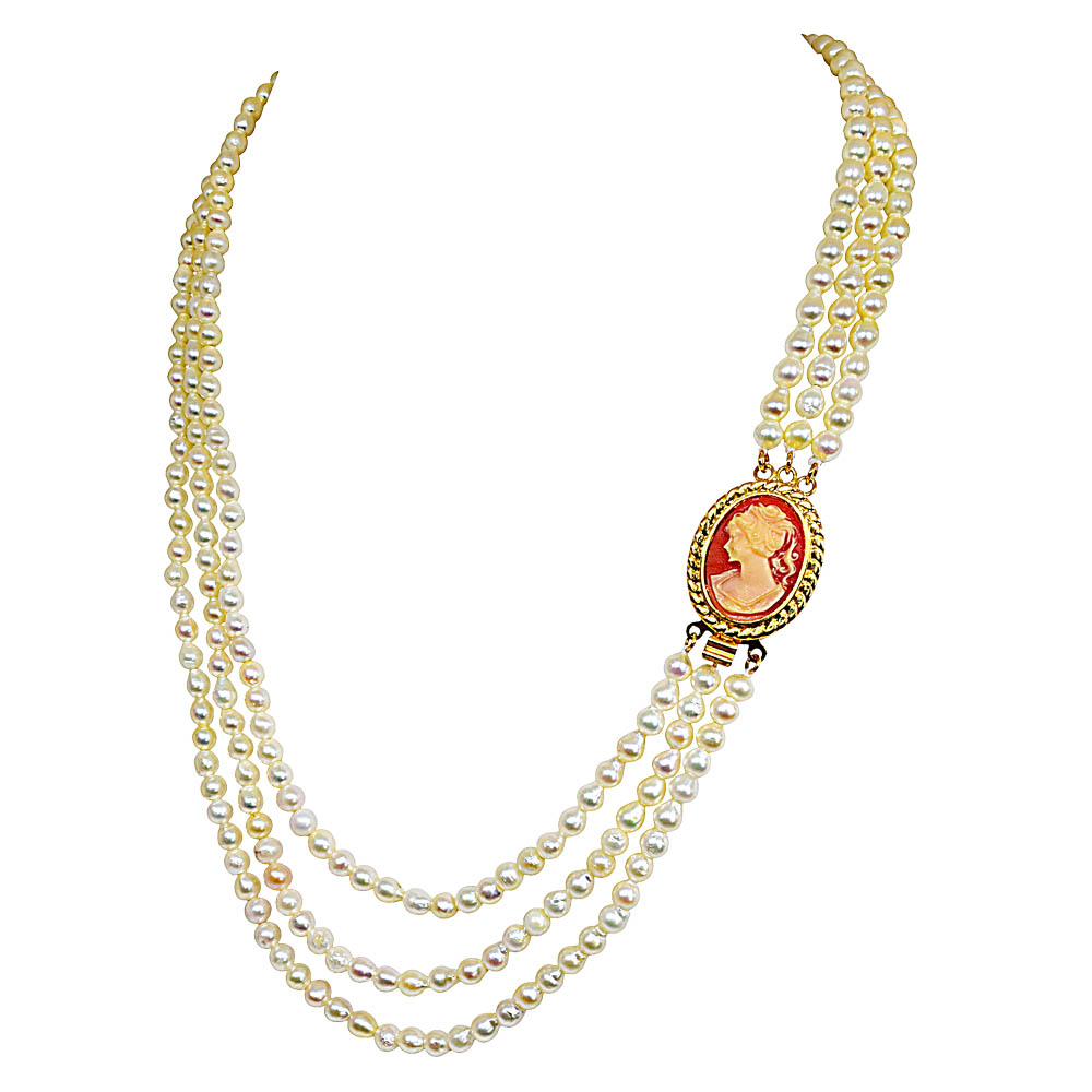 "Fine 19/20"" Long 3 Line Real Japanese Cultured Pearl Necklace with Ruby for Women, White Silky Smooth Pearls SN774"