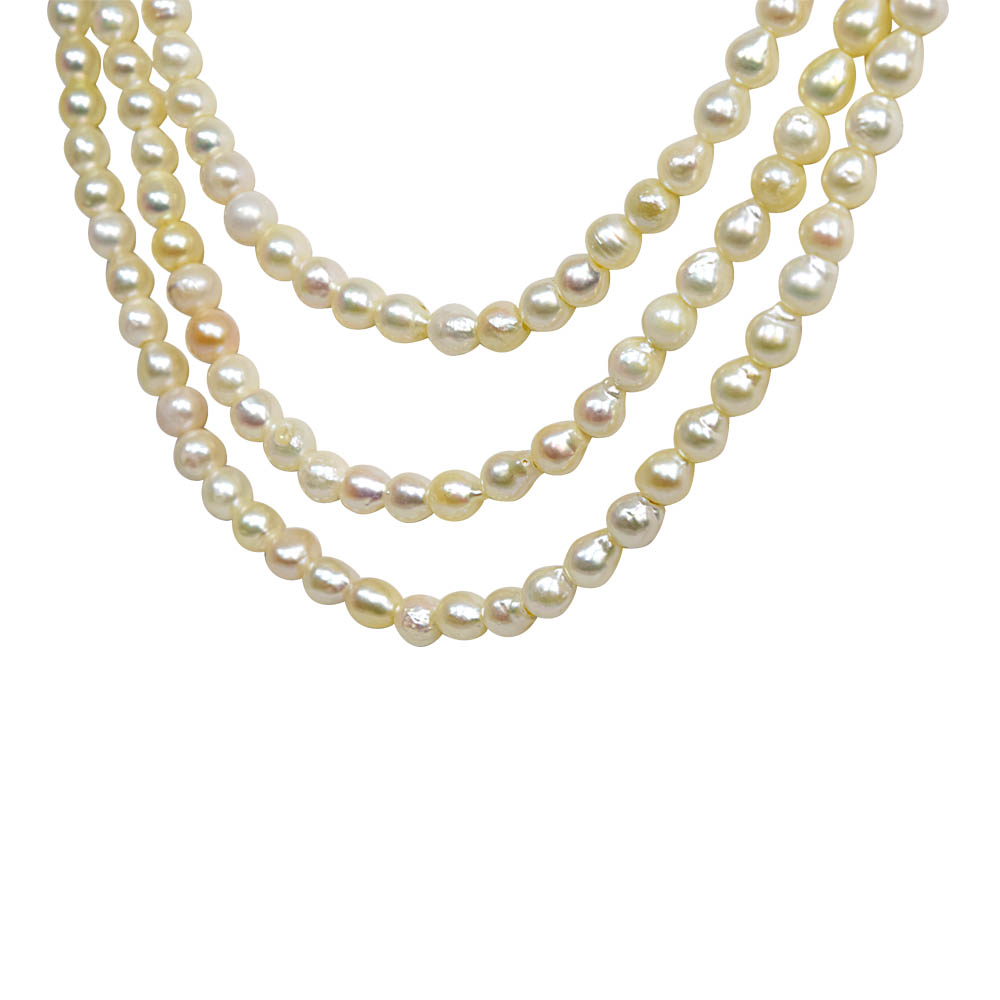 """Fine 19/20"""" Long 3 Line Real Japanese Cultured Pearl Necklace for Women, White Silky Smooth Pearls (SN774)"""