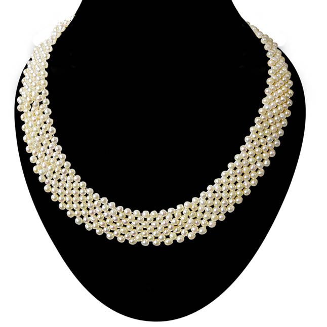 Fine Knitted Choker Real Japanese Akoya Cultured Pearl Necklace for Women, White Silky Smooth Pearls SN776