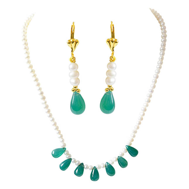 Real Freshwater Pearl & Drop Shaped Green Onyx Necklace & Earring Set SN780