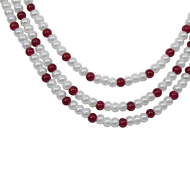 Ornamentation - 3 Line Freshwater Pearl & Real Ruby Beads Necklace for Women (SN81)