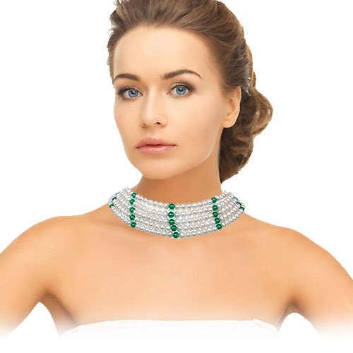 Grandiloquence - 5 Line Freshwater Pearl & Green Onyx Beads Necklace for Women (SN82)