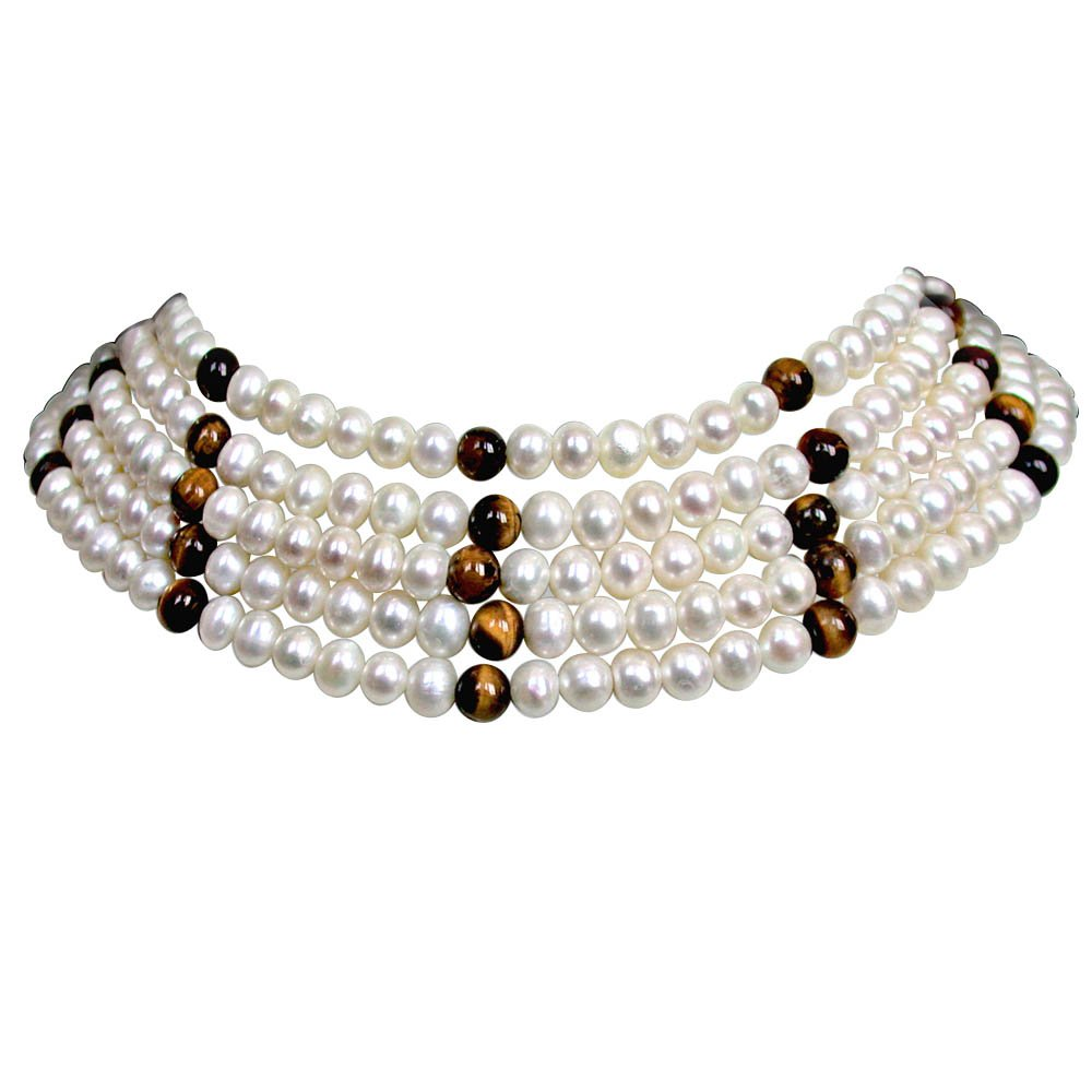Richness -  5 Line Real Freshwater Pearl & Tiger Eye Beads Choker Necklace for Women (SN83)