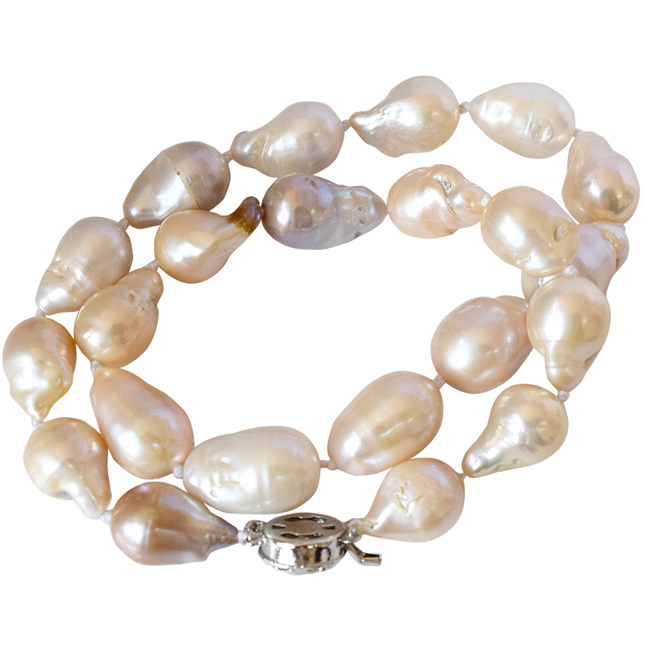 Single Line 472.55 cts Peach Real Baroque Pearl Necklace for Women (SN835-472.55cts)