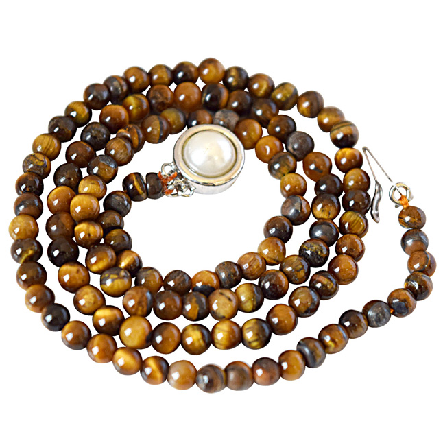 4/5 mm Brown Tiger Eye Beads Single Line Necklace (SN838)