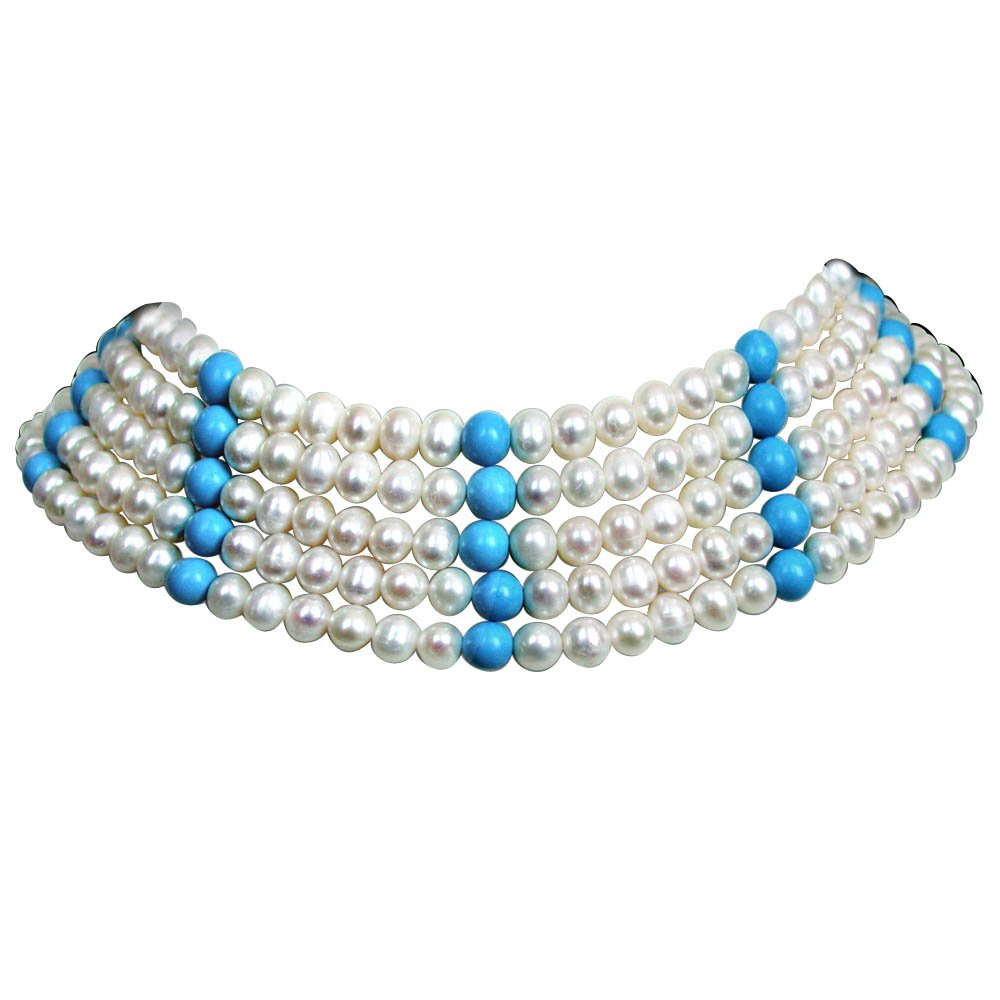 Ostentatious - 5 Line Real Freshwater Pearl & Turquoise Beads Choker Necklace for Women (SN84)