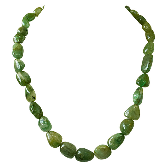 300cts Single Line Big Real Natural Oval Green Emerald Necklace for Women (SN841)