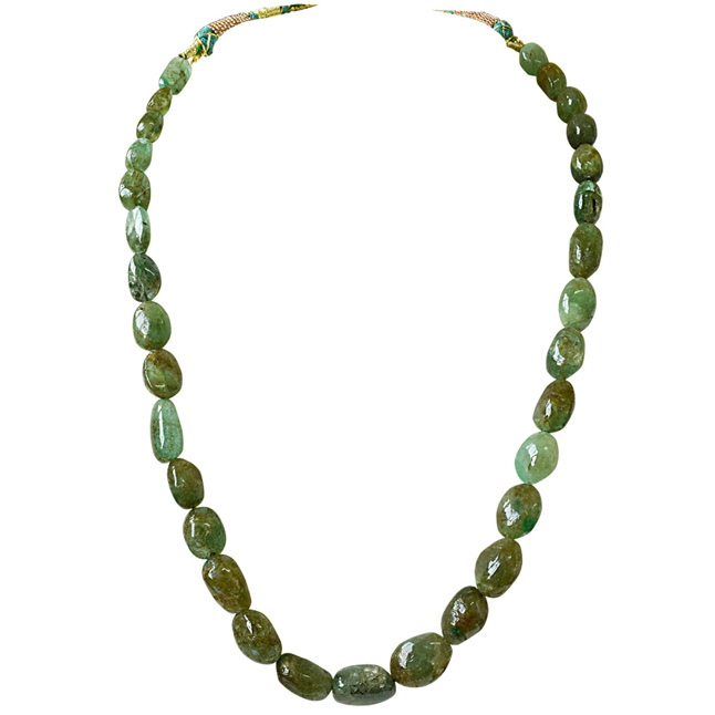 193cts Single Line Big Real Natural Oval Green Emerald Necklace for Women (SN842)