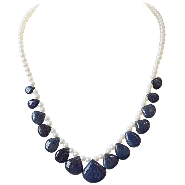 205cts 15pc Real Drop Blue Sapphire and Freshwater Pearl Necklace for Women (SN846)