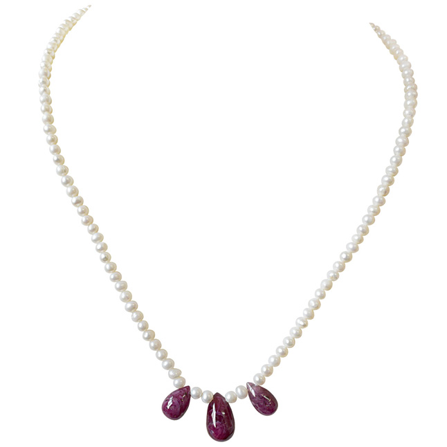 30cts 3pc Real Drop Ruby & Freshwater Pearl Necklace for Women (SN847)
