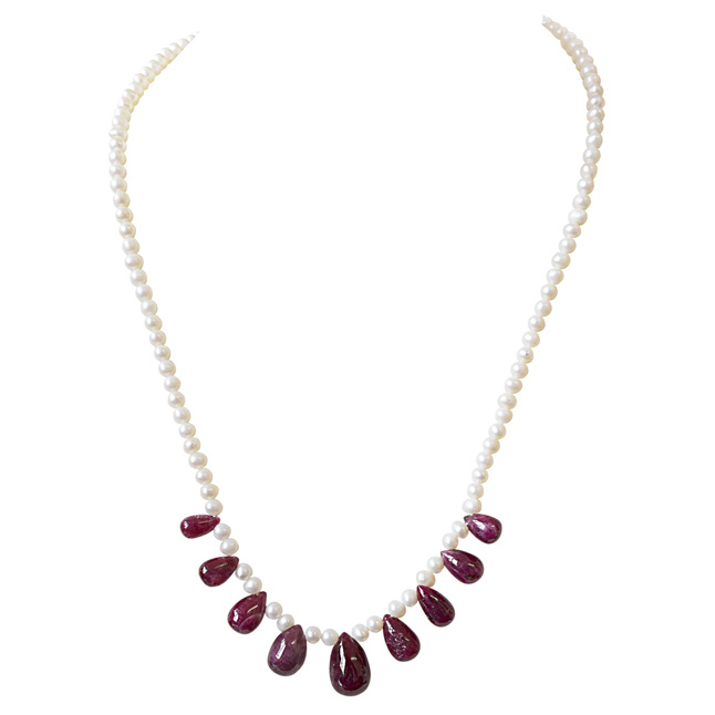 50cts 9pcs Real Drop Ruby and Freshwater Pearl Necklace for Women (SN848)