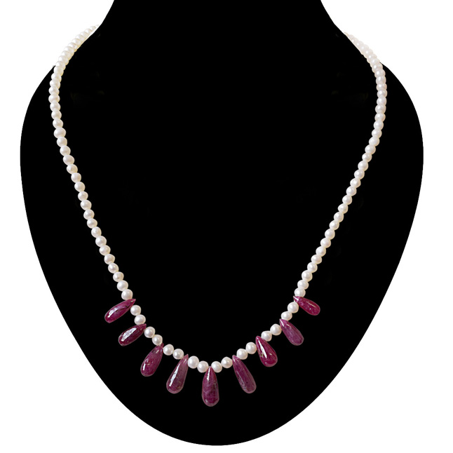30cts 9pcs Real Drop Ruby & Freshwater Pearl Necklace for Women (SN849)