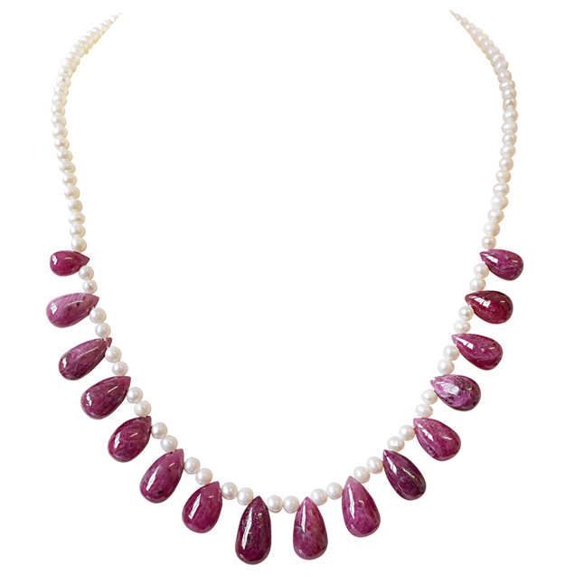 135cts 16pcs Real Drop Ruby & Freshwater Pearl Necklace for Women (SN851)
