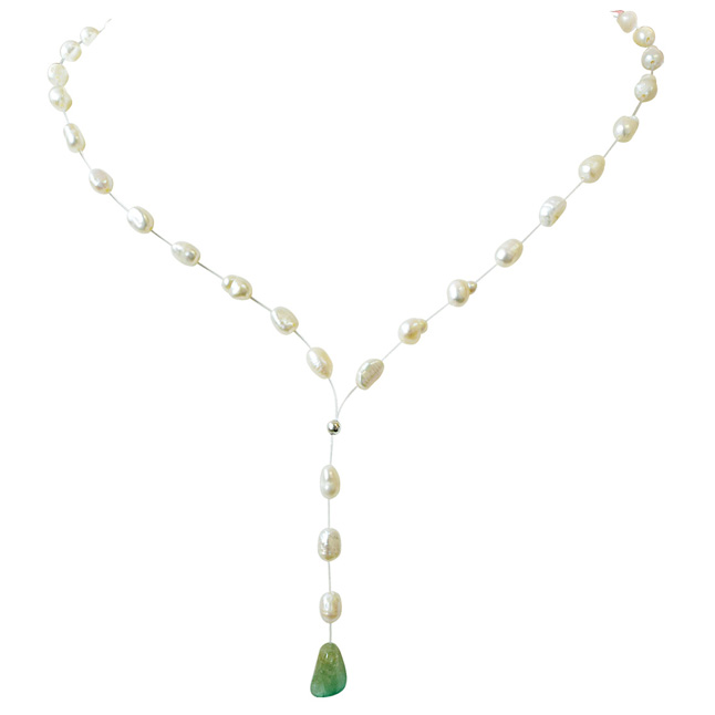 3.15cts Real Natural Oval Green Emerald and Freshwater Pearl Wire Style Necklace for Women (SN853)