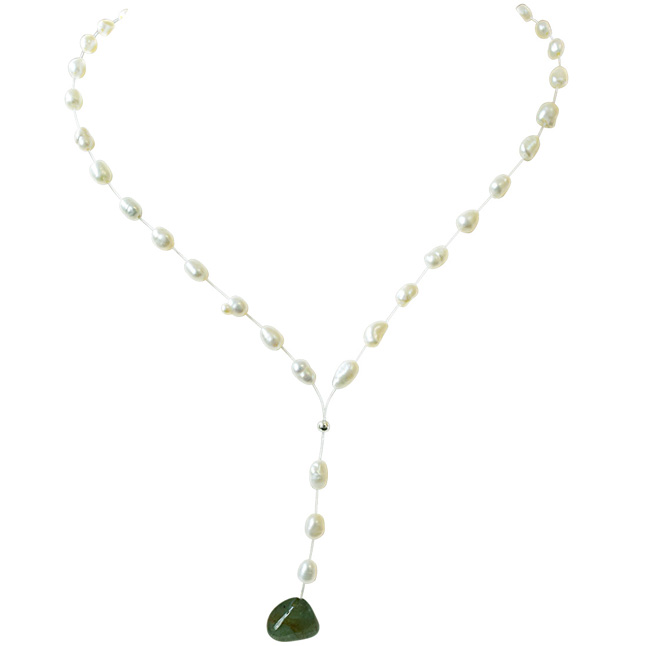 9.72cts Real Natural Oval Green Emerald and Freshwater Pearl Wire Style Necklace for Women (SN854)