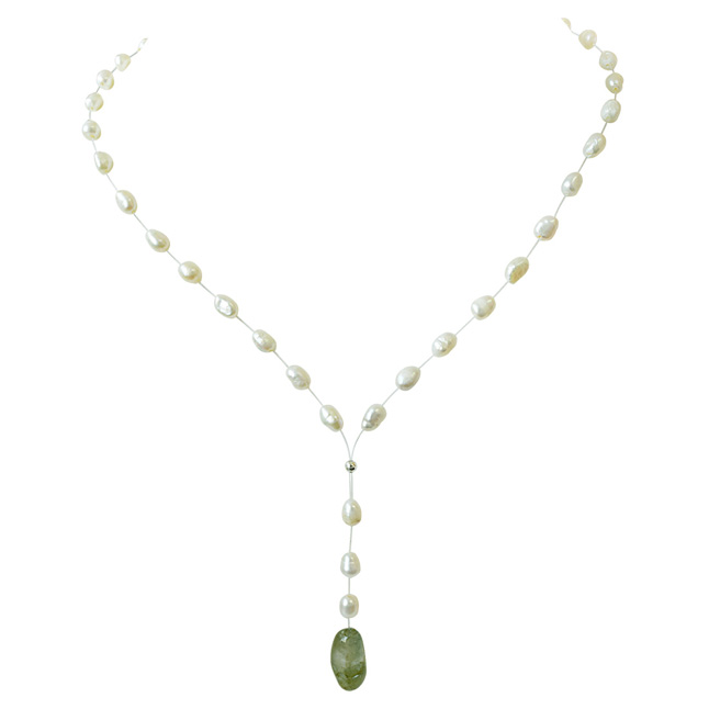 15.49cts Real Natural Oval Green Emerald and Freshwater Pearl Wire Style Necklace for Women (SN855)
