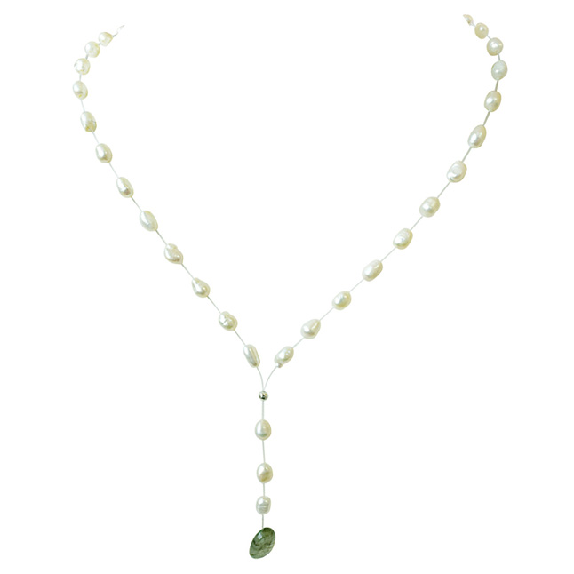 49.46cts Real Natural Oval Green Emerald and Freshwater Pearl Wire Style Necklace for Women (SN857)