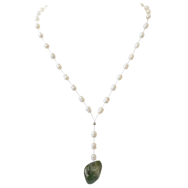 51.60cts Real Natural Oval Green Emerald and Freshwater Pearl Wire Style Necklace for Women (SN862)