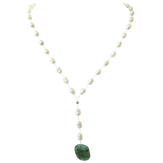 18.99cts Real Natural Oval Green Emerald and Freshwater Pearl Wire Style Necklace for Women (SN864)