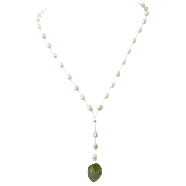 19.08cts Real Natural Oval Green Emerald and Freshwater Pearl Wire Style Necklace for Women (SN865)