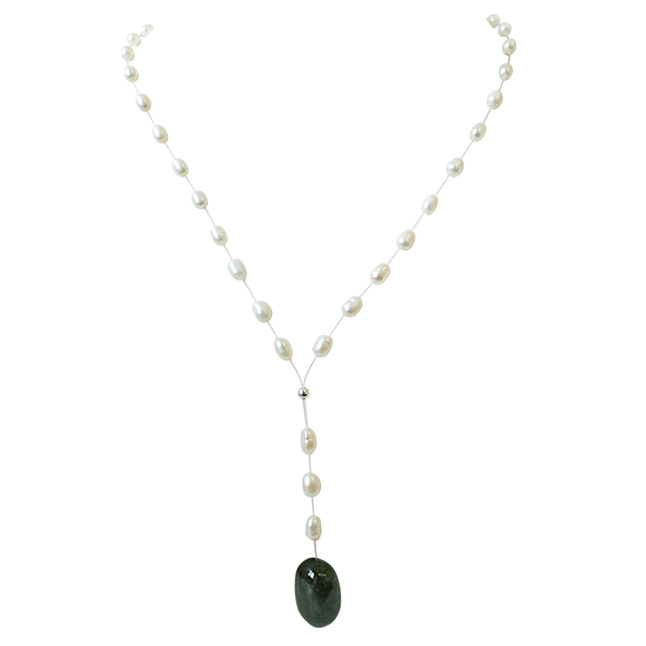 16.11cts Real Natural Oval Green Emerald and Freshwater Pearl Wire Style Necklace for Women (SN866)
