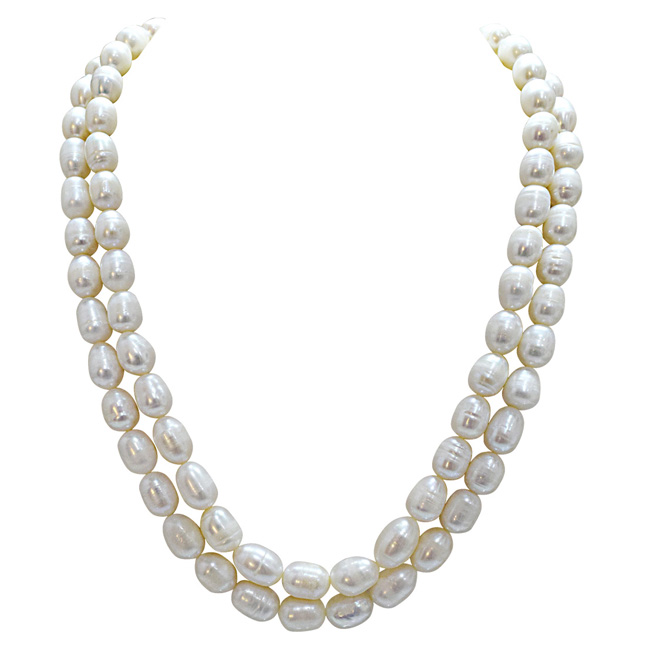 2 Line Real Big Elongated Pearl Necklace for Women (SN868)