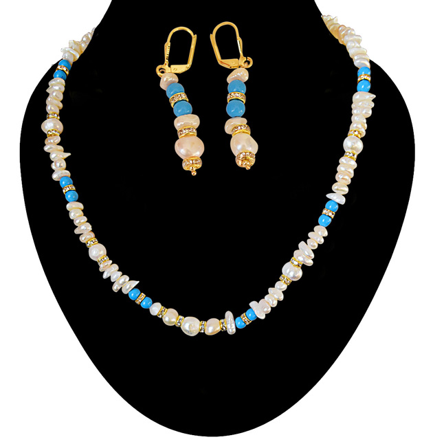 Real Freshwater Pearl and Turquoise Beads Necklace & Earring Set for Women (SN877)