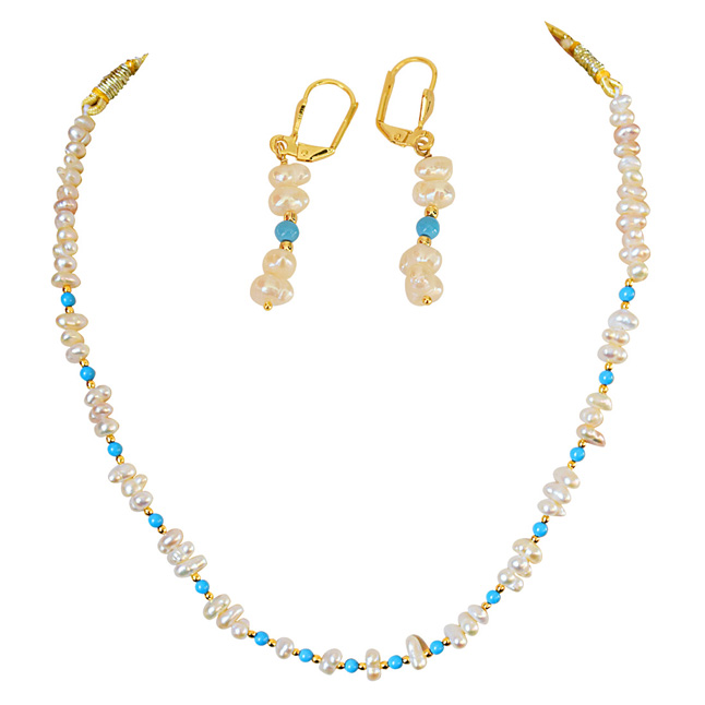 Real Freshwater Pearl and Turquoise Beads Necklace & Earring Set for Women (SN878)