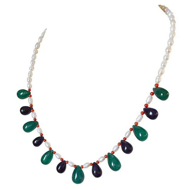 Drop Green Onyx, Blue Sapphire, Red Coral and Freshwater Pearl Necklace for Women (SN880)