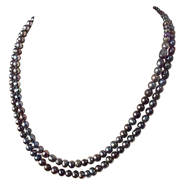 2 Line Round Shaped Grey Pearl Necklace for Women (SN882)