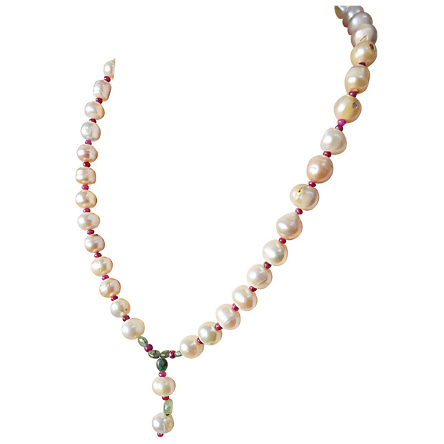 Real Natural Oval Green Emerald, Ruby Beads and Peach Pearl Necklace for Women (SN886)