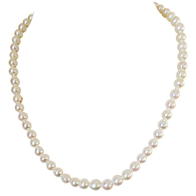 Fine 18 inches Single Line Real Japanese Cultured Pearl Necklace for Women, White Silky Smooth Pearls (SN887)